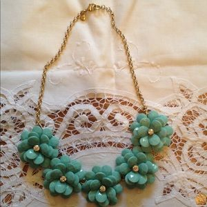 J Crew Teal Flowered Necklace